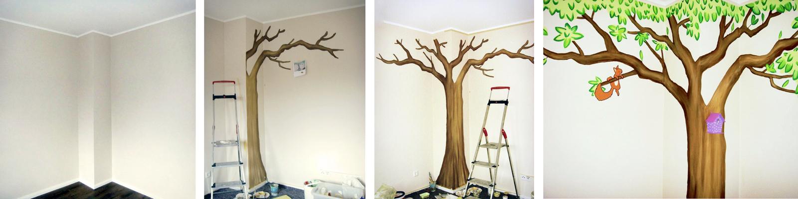 Kinderzimmer wandgestaltung baum selber malen  Sweetwall - Wunschmotive für Deine Wand. Wandmalerei für ...