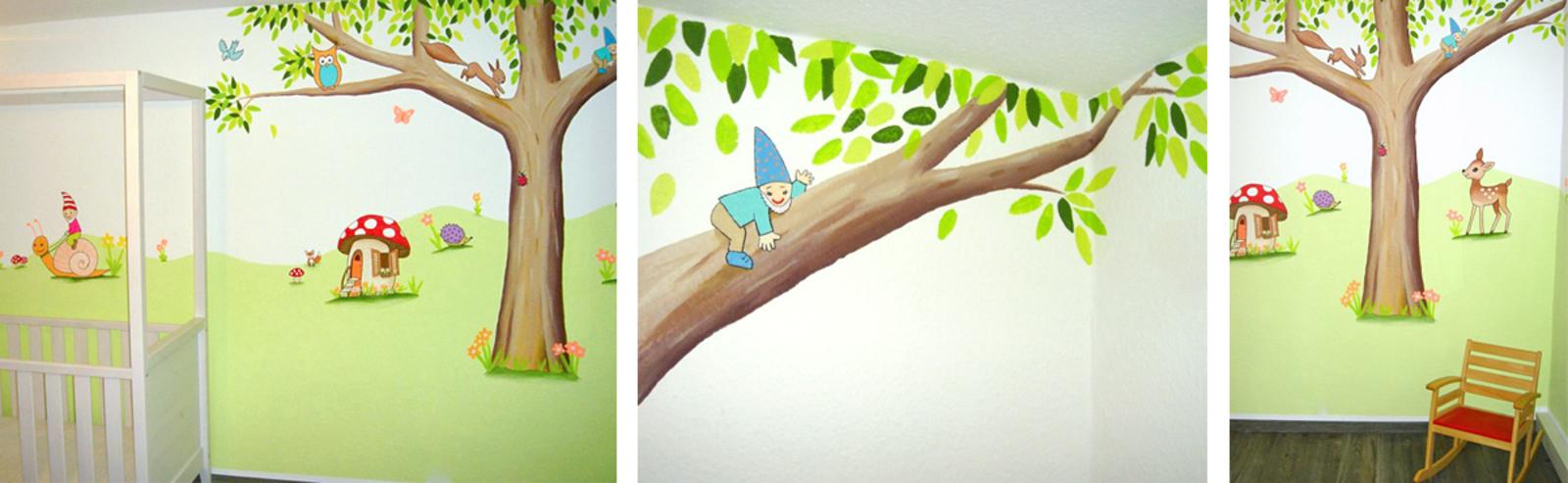 Wandgestaltung Kinderzimmer Tiere :  für Deine Wand Wandmalerei für Kinderzimmer Kinderzimmer